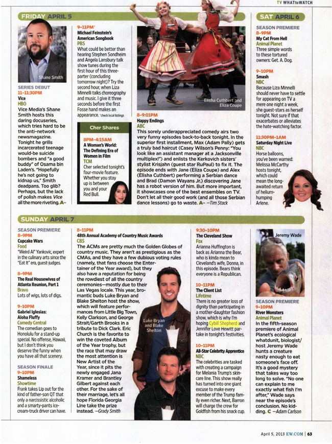ENTERTAINMENT WEEKLY (Friday, April 5, 2013) What To Watch [by Adam Carlson]. Cybill Shepherd stars in The Client List.